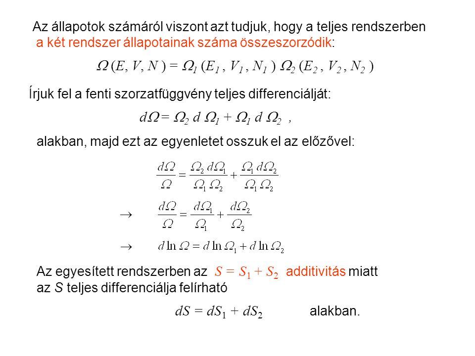 Mikrokanonikus entrópia 2 Az állapotok számáról viszont azt tudjuk, hogy a teljes rendszerben a két rendszer állapotainak száma összeszorzódik:  (E, V, N ) =  1 (E 1, V 1, N 1 )  2 (E 2, V 2, N 2 ) Írjuk fel a fenti szorzatfüggvény teljes differenciálját: d  =  2 d  1 +  1 d  2, alakban, majd ezt az egyenletet osszuk el az előzővel: Az egyesített rendszerben az S = S 1 + S 2 additivitás miatt az S teljes differenciálja felírható dS = dS 1 + dS 2 alakban.