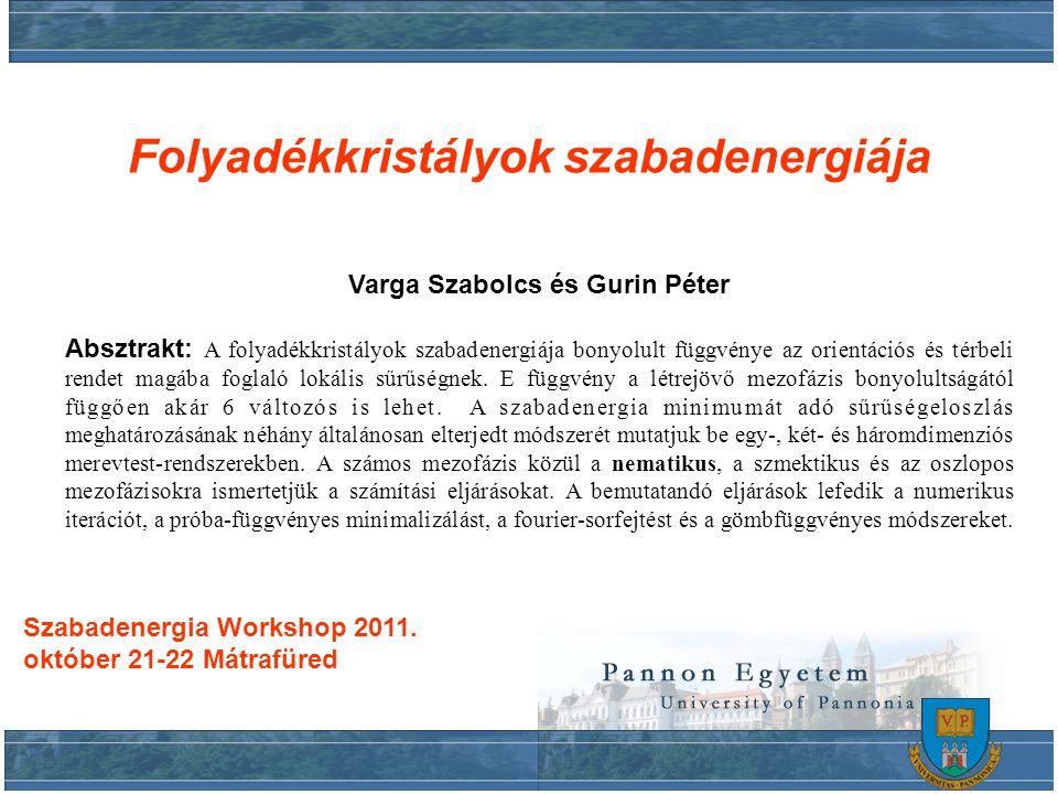 Varga Szabolcs és Gurin Péter Absztrakt: A folyadékkristályok szabadenergiája bonyolult függvénye az orientációs és térbeli rendet magába foglaló lokális sűrűségnek.