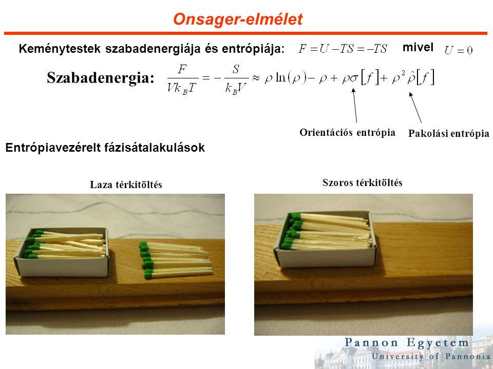 Onsager-elmélet Szoros térkitöltés Laza térkitöltés Szabadenergia: Pakolási entrópia Orientációs entrópia Keménytestek szabadenergiája és entrópiája: Entrópiavezérelt fázisátalakulások mivel