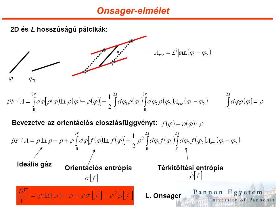 Onsager-elmélet 2D és L hosszúságú pálcikák: Bevezetve az orientációs eloszlásfüggvényt: Ideális gáz Orientációs entrópiaTérkitöltési entrópia L.