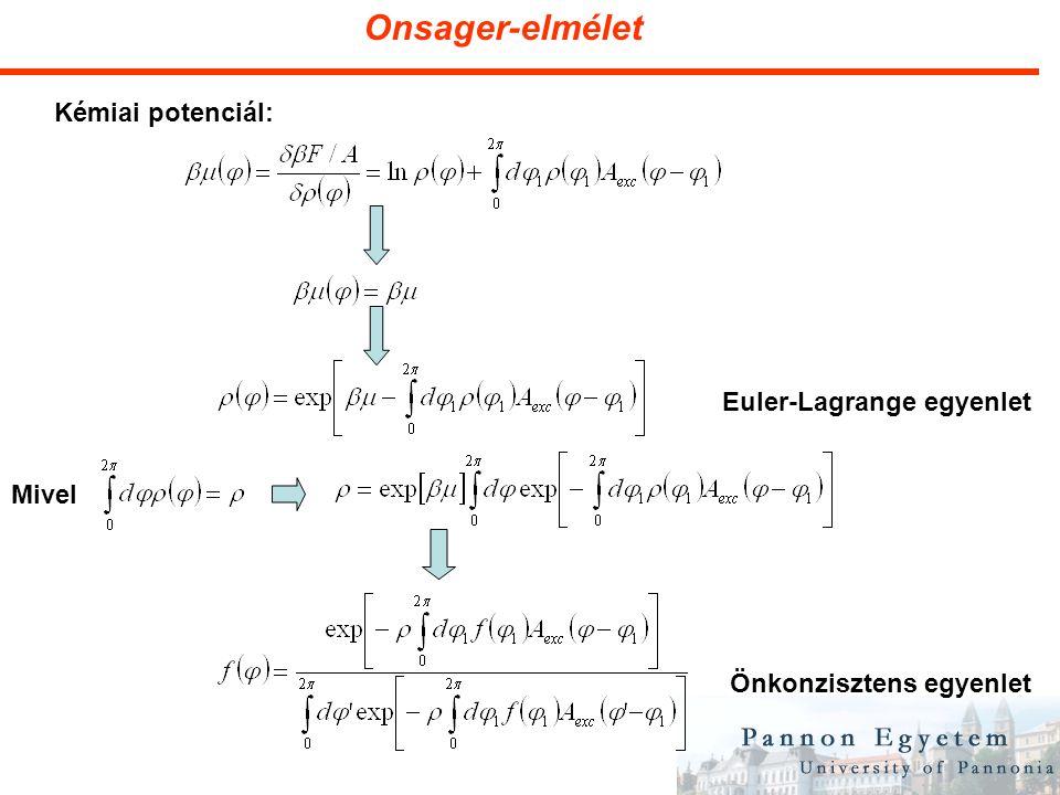 Onsager-elmélet Kémiai potenciál: Mivel Önkonzisztens egyenlet Euler-Lagrange egyenlet