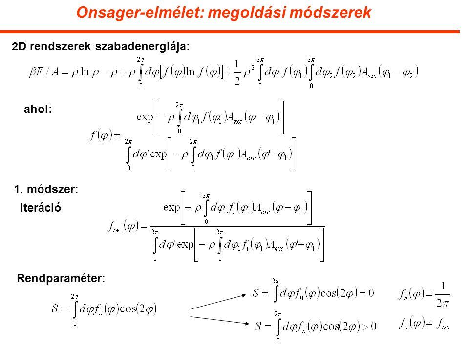 Onsager-elmélet: megoldási módszerek 2D rendszerek szabadenergiája: ahol: 1.