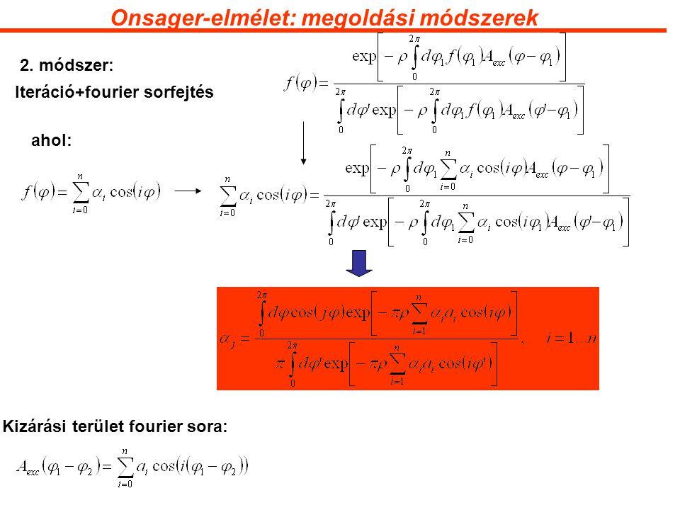 Onsager-elmélet: megoldási módszerek ahol: 2.