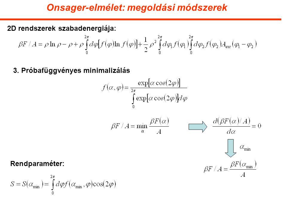 Onsager-elmélet: megoldási módszerek 2D rendszerek szabadenergiája: 3.
