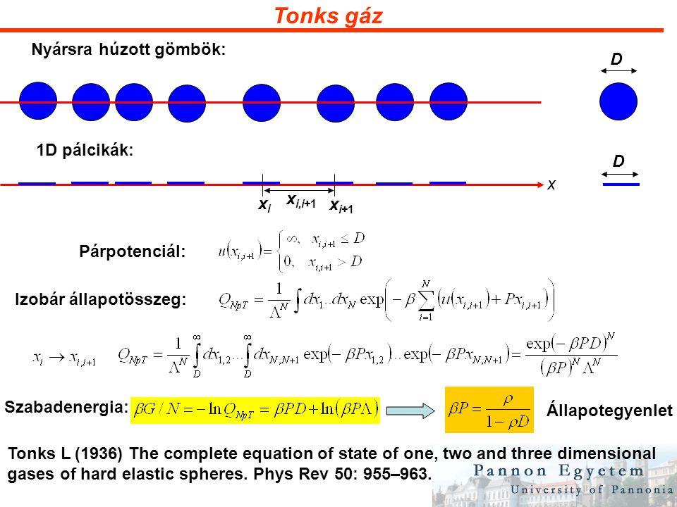 Tonks gáz Szabadon forgó pálcikák: x xixi x i+1 x i,i+1 Párpotenciál: Izobár állapotösszeg: ii  i+1_ ii ahol Mátrixszorzás: ahol Sajátérték-egyenlet
