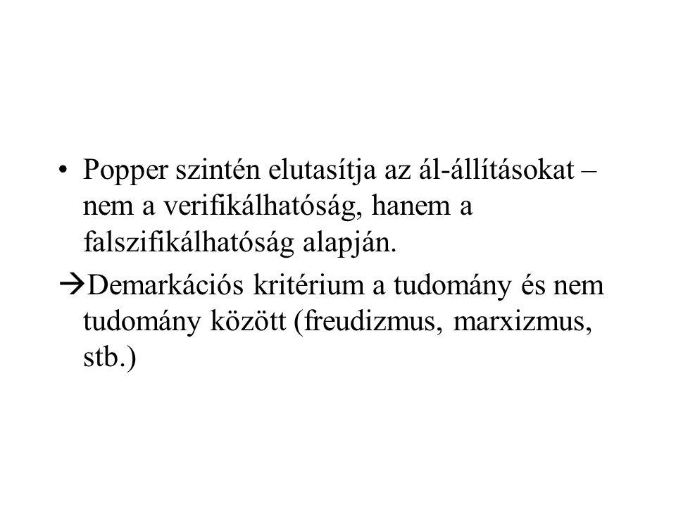 Popper szintén elutasítja az ál-állításokat – nem a verifikálhatóság, hanem a falszifikálhatóság alapján.  Demarkációs kritérium a tudomány és nem tu