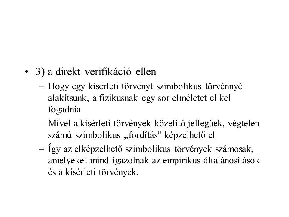 3) a direkt verifikáció ellen –Hogy egy kísérleti törvényt szimbolikus törvénnyé alakítsunk, a fizikusnak egy sor elméletet el kel fogadnia –Mivel a k
