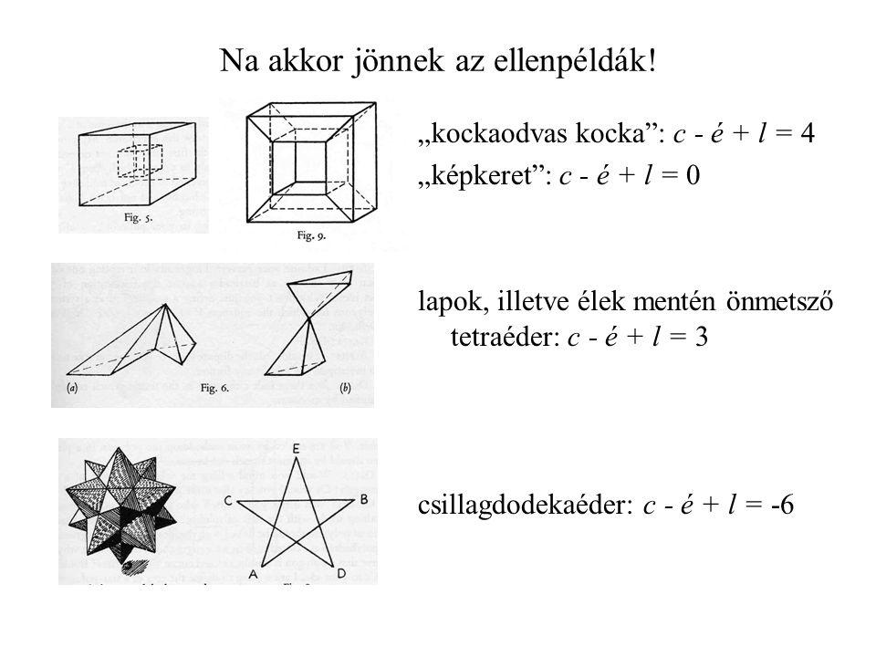 """Na akkor jönnek az ellenpéldák! """"kockaodvas kocka"""": c - é + l = 4 """"képkeret"""": c - é + l = 0 lapok, illetve élek mentén önmetsző tetraéder: c - é + l ="""