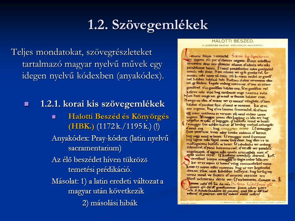 Teljes mondatokat, szövegrészleteket tartalmazó magyar nyelvű művek egy idegen nyelvű kódexben (anyakódex).