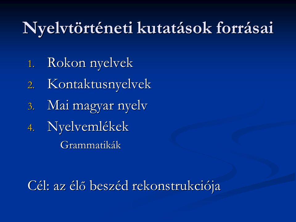 A nyelvemlékek jellemz ő i I.A fennmaradási forma 1.