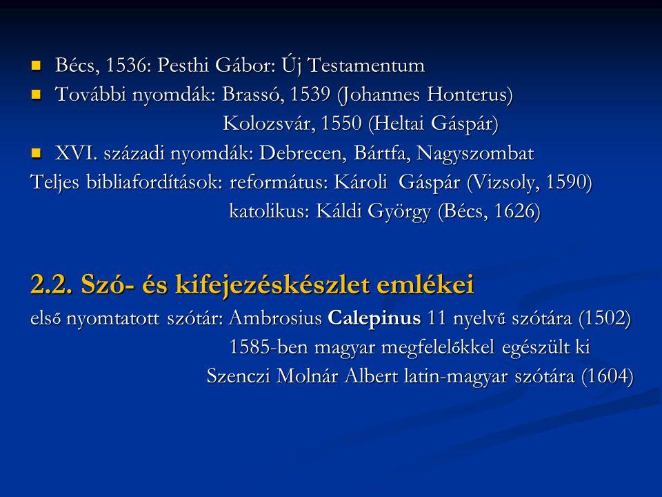 Bécs, 1536: Pesthi Gábor: Új Testamentum Bécs, 1536: Pesthi Gábor: Új Testamentum További nyomdák: Brassó, 1539 (Johannes Honterus) További nyomdák: Brassó, 1539 (Johannes Honterus) Kolozsvár, 1550 (Heltai Gáspár) Kolozsvár, 1550 (Heltai Gáspár) XVI.