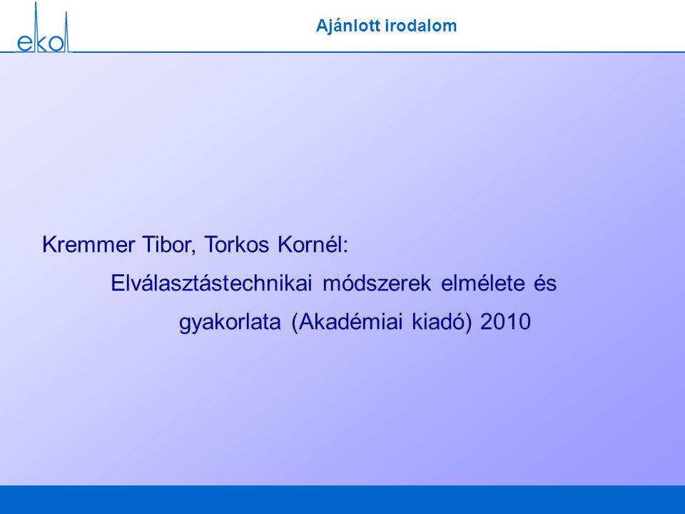 Ajánlott irodalom Kremmer Tibor, Torkos Kornél: Elválasztástechnikai módszerek elmélete és gyakorlata (Akadémiai kiadó) 2010