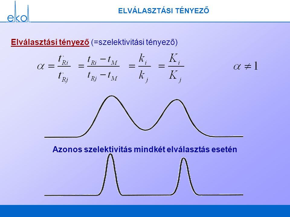 ELVÁLASZTÁSI TÉNYEZŐ Elválasztási tényező (=szelektivitási tényező) Azonos szelektivitás mindkét elválasztás esetén