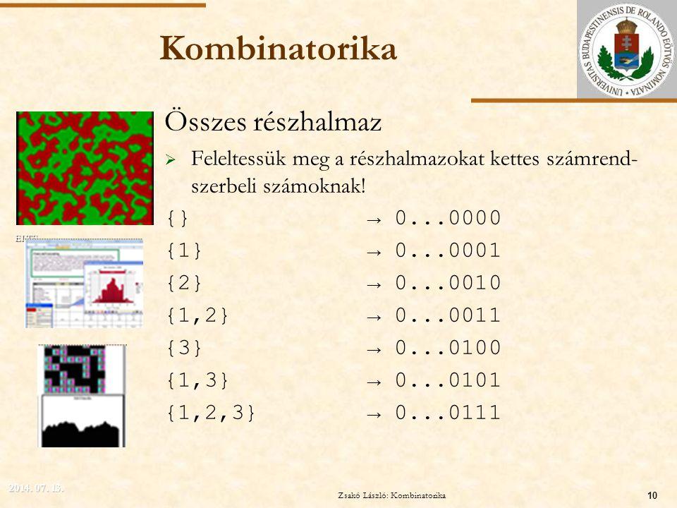 ELTE Kombinatorika Összes részhalmaz  Feleltessük meg a részhalmazokat kettes számrend- szerbeli számoknak! {}→ 0...0000 {1}→ 0...0001 {2}→ 0...0010
