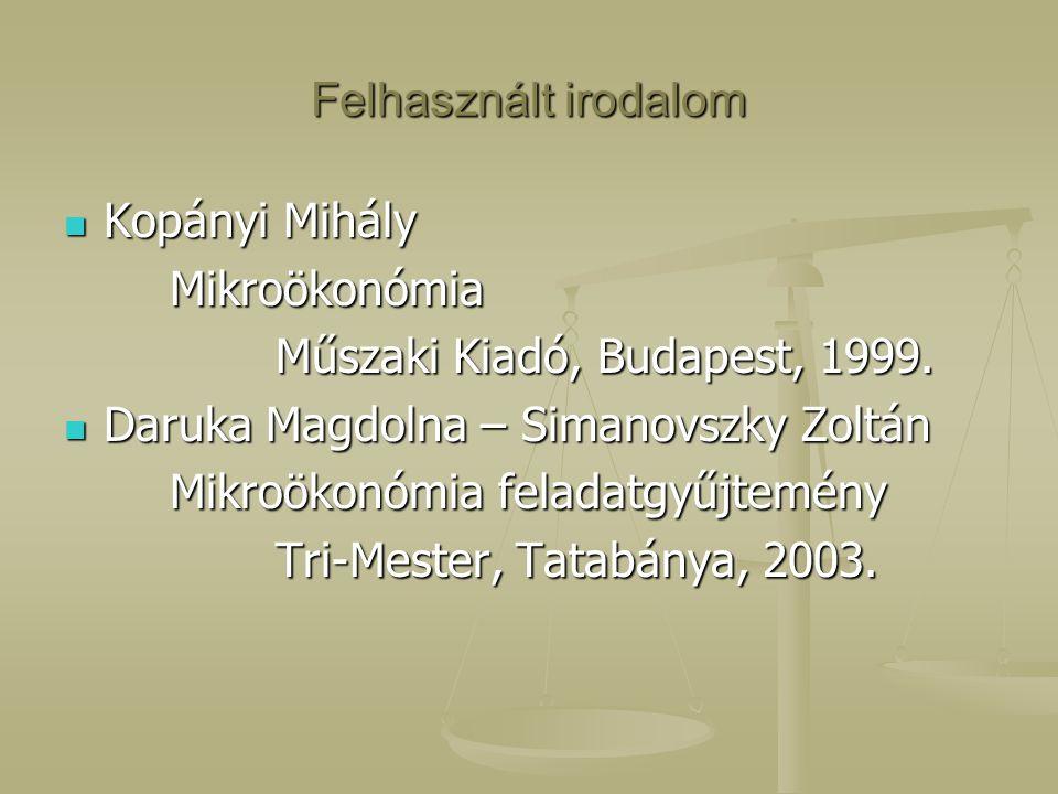 Felhasznált irodalom Kopányi Mihály Kopányi MihályMikroökonómia Műszaki Kiadó, Budapest, 1999. Daruka Magdolna – Simanovszky Zoltán Daruka Magdolna –