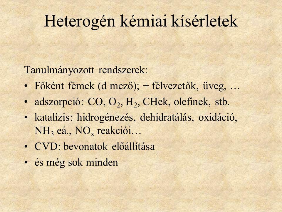 Heterogén kémiai kísérletek Tanulmányozott rendszerek: Főként fémek (d mező); + félvezetők, üveg, … adszorpció: CO, O 2, H 2, CHek, olefinek, stb. kat