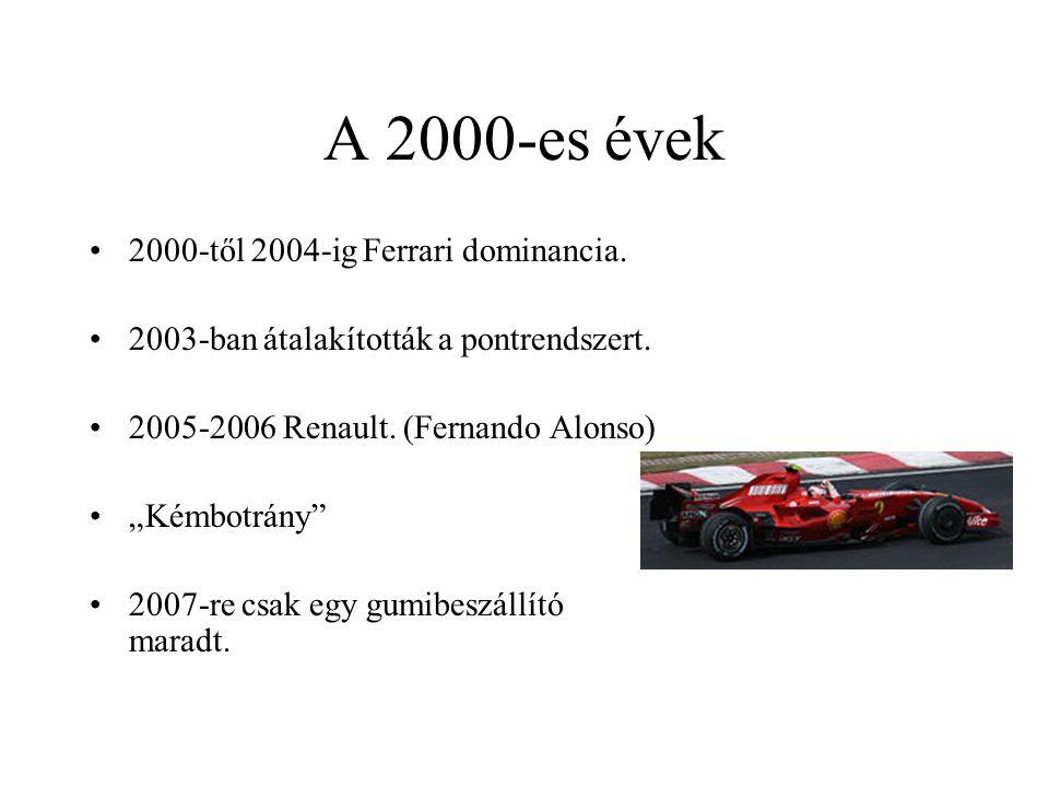 """A 2000-es évek 2000-től 2004-ig Ferrari dominancia. 2003-ban átalakították a pontrendszert. 2005-2006 Renault. (Fernando Alonso) """"Kémbotrány"""" 2007-re"""