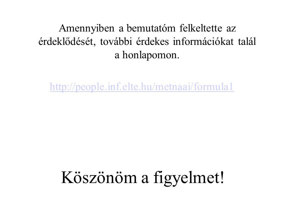 Köszönöm a figyelmet! Amennyiben a bemutatóm felkeltette az érdeklődését, további érdekes információkat talál a honlapomon. http://people.inf.elte.hu/