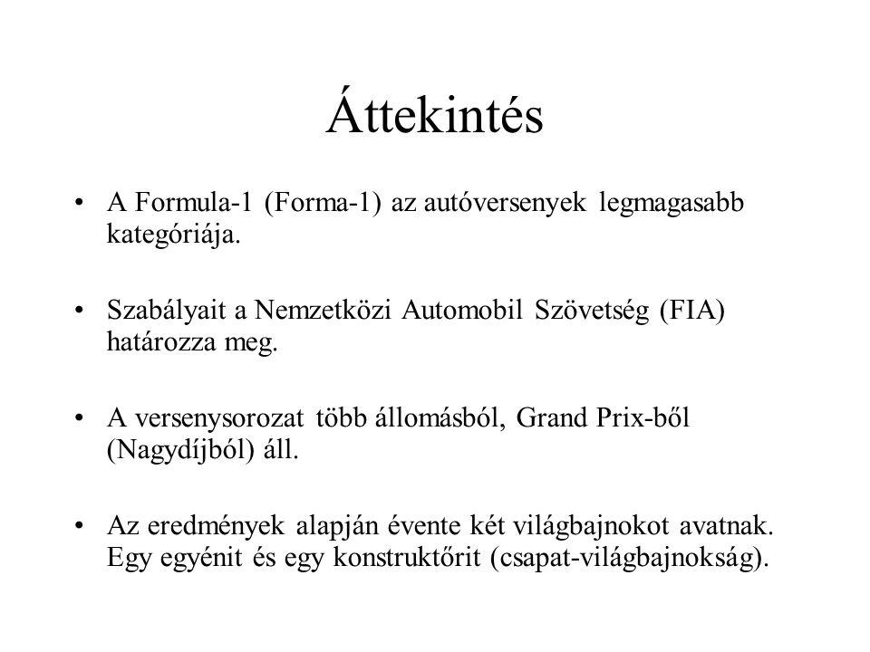 Áttekintés A Formula-1 (Forma-1) az autóversenyek legmagasabb kategóriája. Szabályait a Nemzetközi Automobil Szövetség (FIA) határozza meg. A versenys
