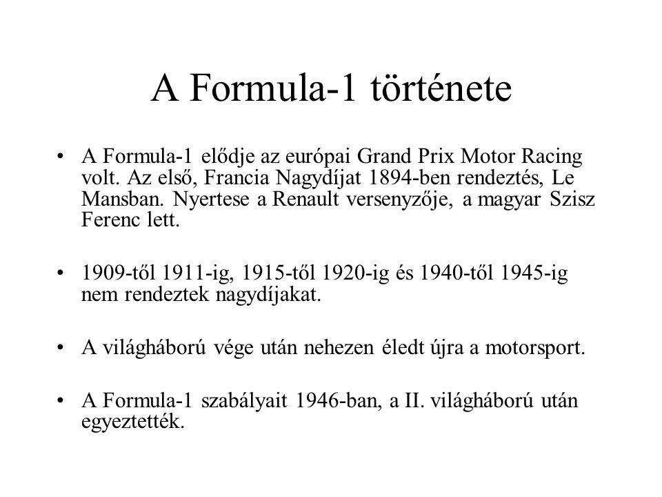 A Formula-1 története A Formula-1 elődje az európai Grand Prix Motor Racing volt. Az első, Francia Nagydíjat 1894-ben rendeztés, Le Mansban. Nyertese