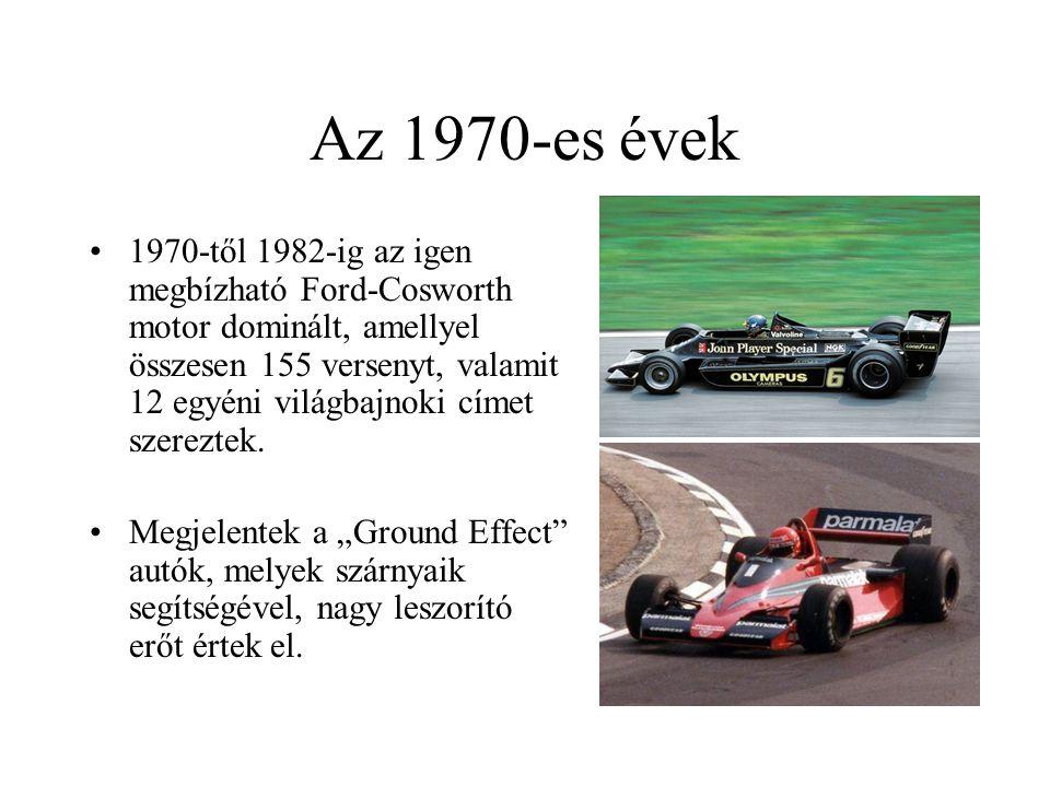 Az 1970-es évek 1970-től 1982-ig az igen megbízható Ford-Cosworth motor dominált, amellyel összesen 155 versenyt, valamit 12 egyéni világbajnoki címet