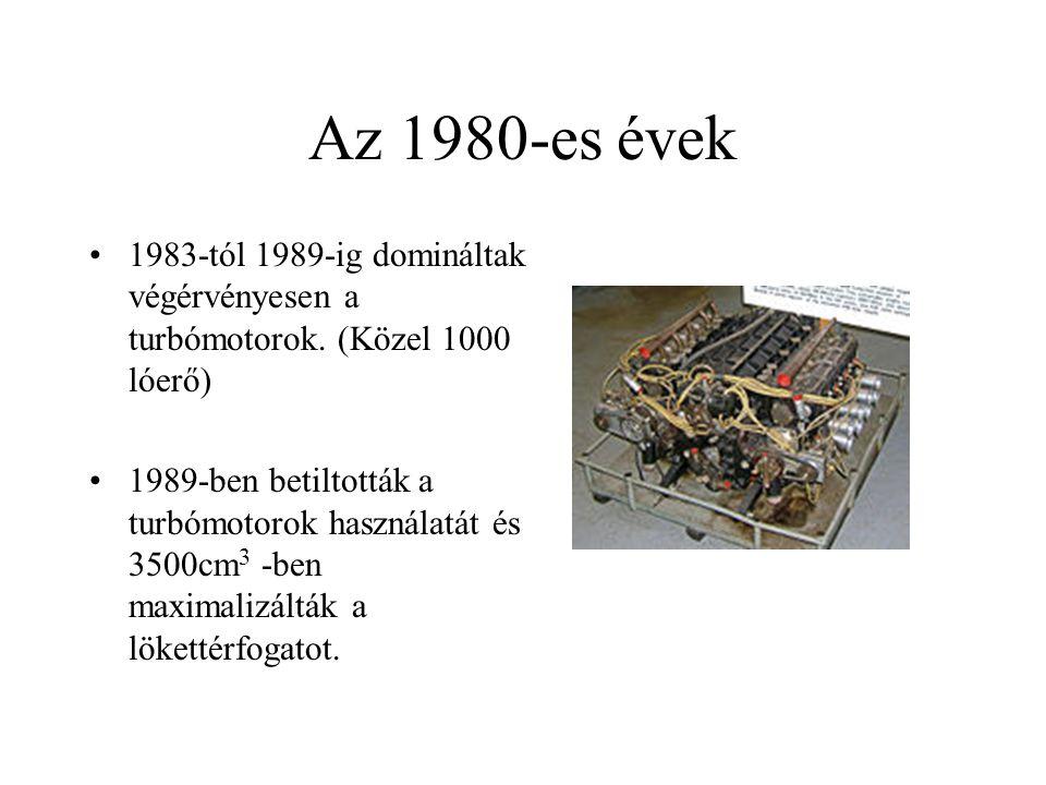 Az 1980-es évek 1983-tól 1989-ig domináltak végérvényesen a turbómotorok. (Közel 1000 lóerő) 1989-ben betiltották a turbómotorok használatát és 3500cm