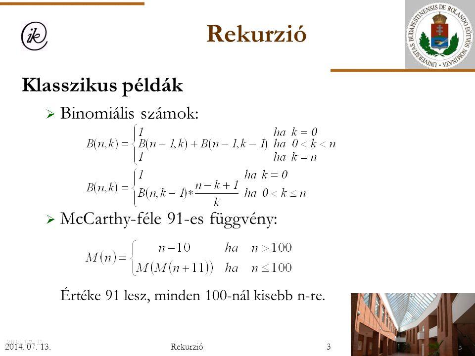 i-edik legkisebb kiválasztása: Kiválasztás(E,U,i,Y): Szétválogatás(E,U,K) Ha i=K akkor Y:=X(K) különben ha i<K akkor Kiválasztás(E,K-1,i,Y) különben Kiválasztás(K+1,U,i-K,Y) Eljárás vége.
