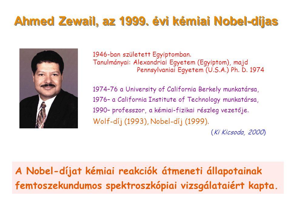 Ahmed Zewail, az 1999. évi kémiai Nobel-díjas 1946-ban született Egyiptomban. Tanulmányai: Alexandriai Egyetem (Egyiptom), majd Pennsylvaniai Egyetem