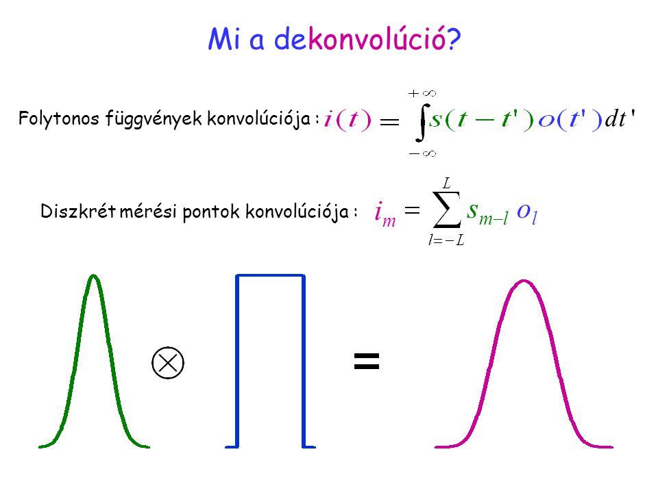 """Mi a konvolúció? 3 (""""dekonvoluált"""") Mi a dekonvolúció? Folytonos függvények konvolúciója : dt ' Diszkrét mérési pontok konvolúciója : imim olol smlsm"""