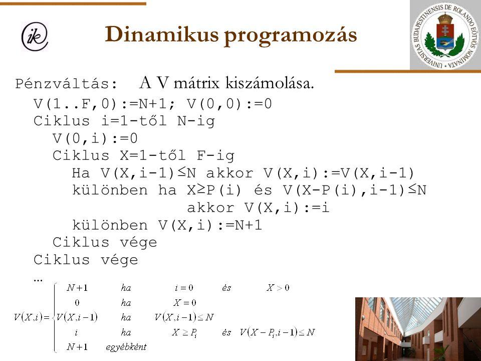 Dinamikus programozás Pénzváltás: A V mátrix kiszámolása. V(1..F,0):=N+1; V(0,0):=0 Ciklus i=1-től N-ig V(0,i):=0 Ciklus X=1-től F-ig Ha V(X,i-1)≤N ak