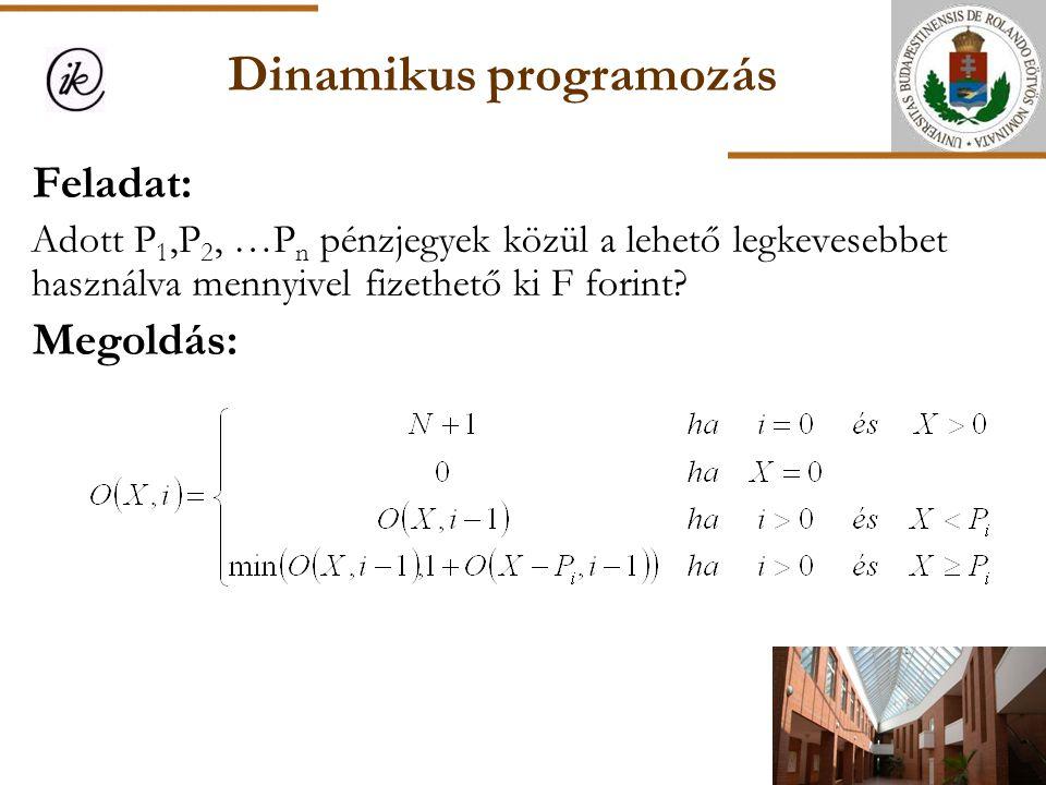 Dinamikus programozás Feladat: Adott P 1,P 2, …P n pénzjegyek közül a lehető legkevesebbet használva mennyivel fizethető ki F forint? Megoldás: