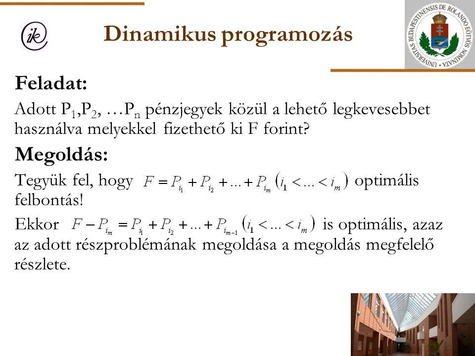 Dinamikus programozás Feladat: Adott P 1,P 2, …P n pénzjegyek közül a lehető legkevesebbet használva melyekkel fizethető ki F forint? Megoldás: Tegyük