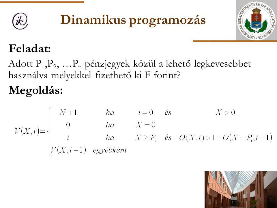 Dinamikus programozás Feladat: Adott P 1,P 2, …P n pénzjegyek közül a lehető legkevesebbet használva melyekkel fizethető ki F forint? Megoldás: