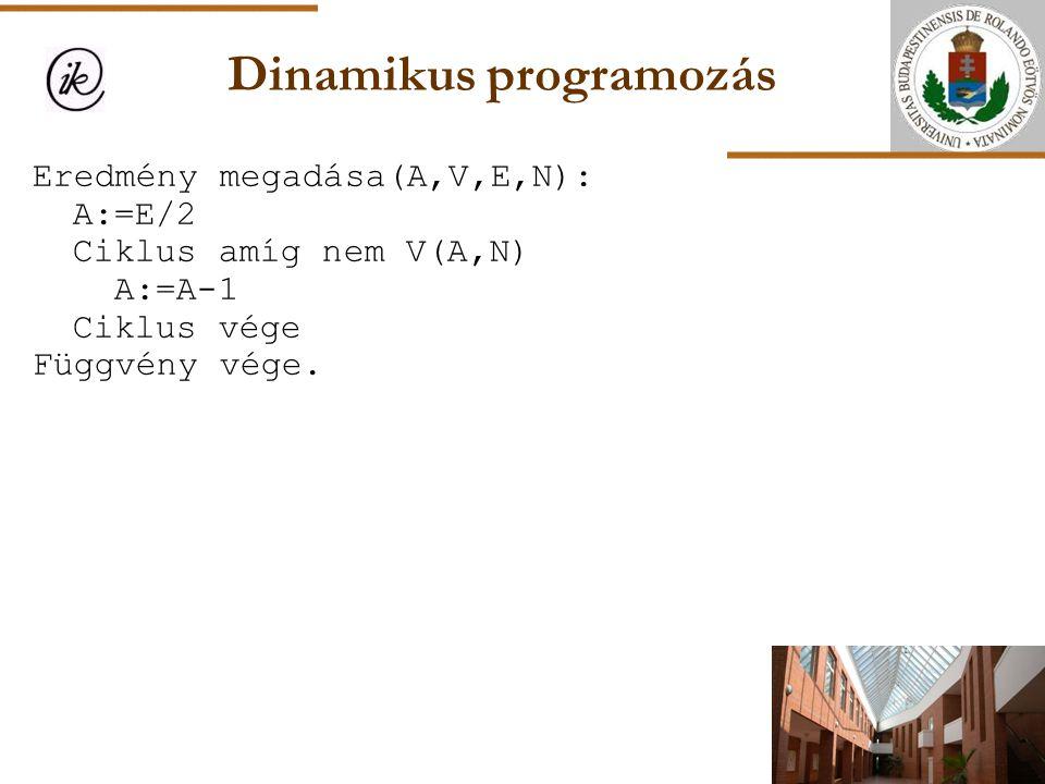 Dinamikus programozás Eredmény megadása(A,V,E,N): A:=E/2 Ciklus amíg nem V(A,N) A:=A-1 Ciklus vége Függvény vége.