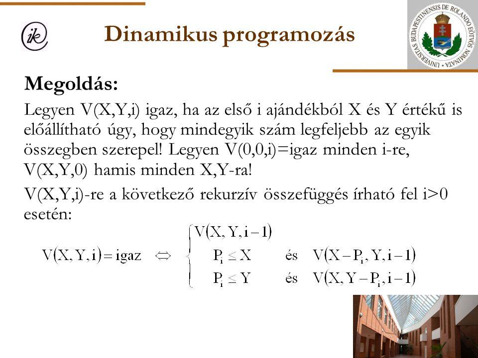 Dinamikus programozás Megoldás: Legyen V(X,Y,i) igaz, ha az első i ajándékból X és Y értékű is előállítható úgy, hogy mindegyik szám legfeljebb az egy
