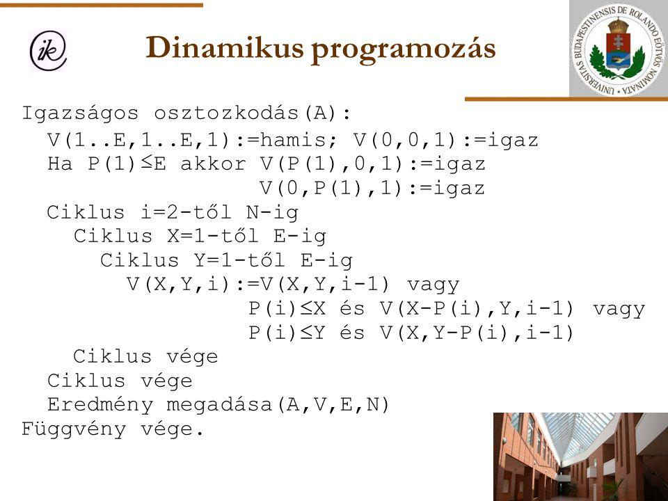 Dinamikus programozás Igazságos osztozkodás(A): V(1..E,1..E,1):=hamis; V(0,0,1):=igaz Ha P(1)≤E akkor V(P(1),0,1):=igaz V(0,P(1),1):=igaz Ciklus i=2-t
