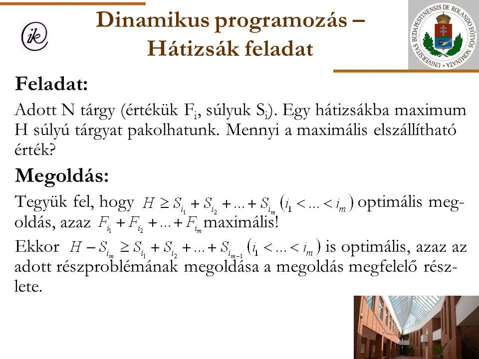 Dinamikus programozás – Hátizsák feladat Feladat: Adott N tárgy (értékük F i, súlyuk S i ). Egy hátizsákba maximum H súlyú tárgyat pakolhatunk. Mennyi