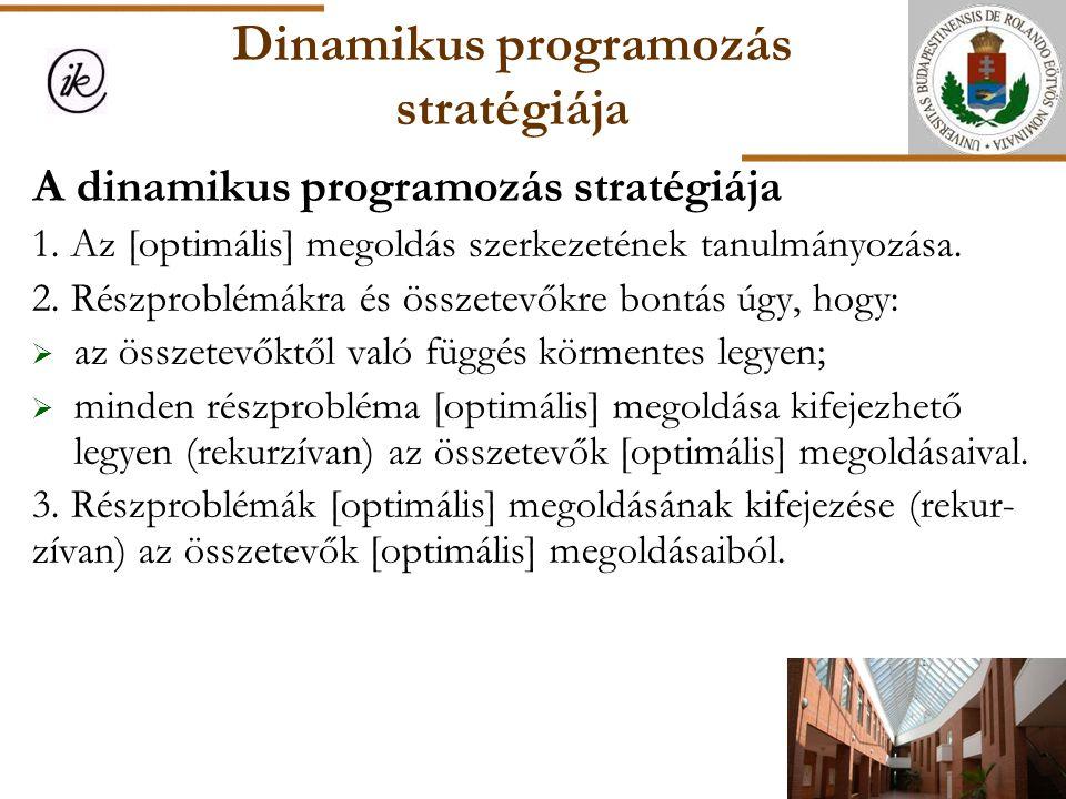 Dinamikus programozás stratégiája A dinamikus programozás stratégiája 1. Az [optimális] megoldás szerkezetének tanulmányozása. 2. Részproblémákra és ö