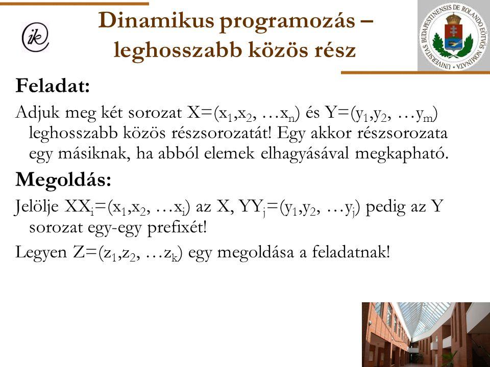Dinamikus programozás – leghosszabb közös rész Feladat: Adjuk meg két sorozat X=(x 1,x 2, …x n ) és Y=(y 1,y 2, …y m ) leghosszabb közös részsorozatát
