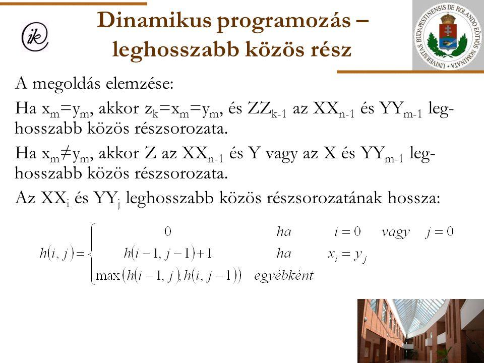 Dinamikus programozás – leghosszabb közös rész A megoldás elemzése: Ha x m =y m, akkor z k =x m =y m, és ZZ k-1 az XX n-1 és YY m-1 leg- hosszabb közö