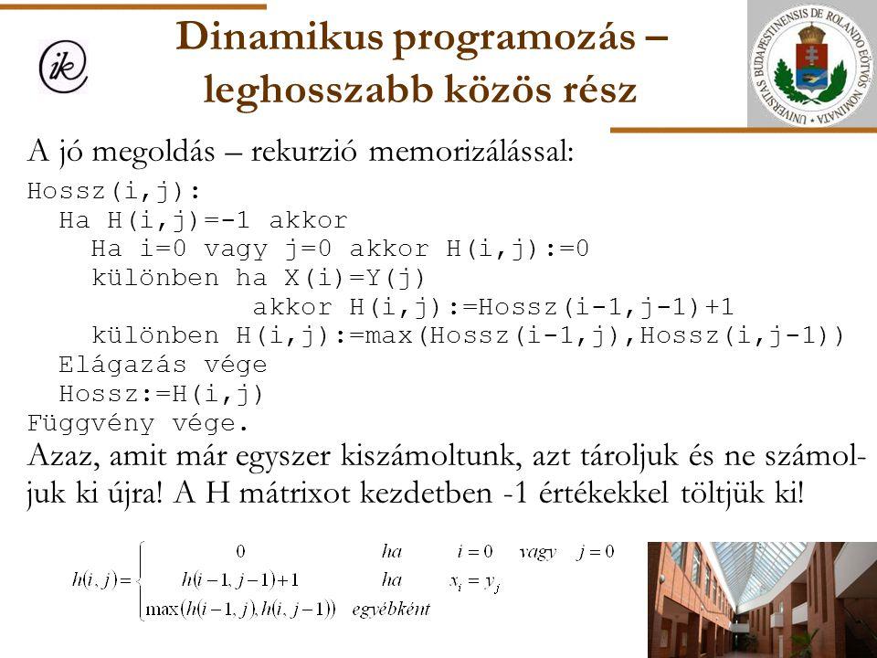 Dinamikus programozás – leghosszabb közös rész A jó megoldás – rekurzió memorizálással: Hossz(i,j): Ha H(i,j)=-1 akkor Ha i=0 vagy j=0 akkor H(i,j):=0