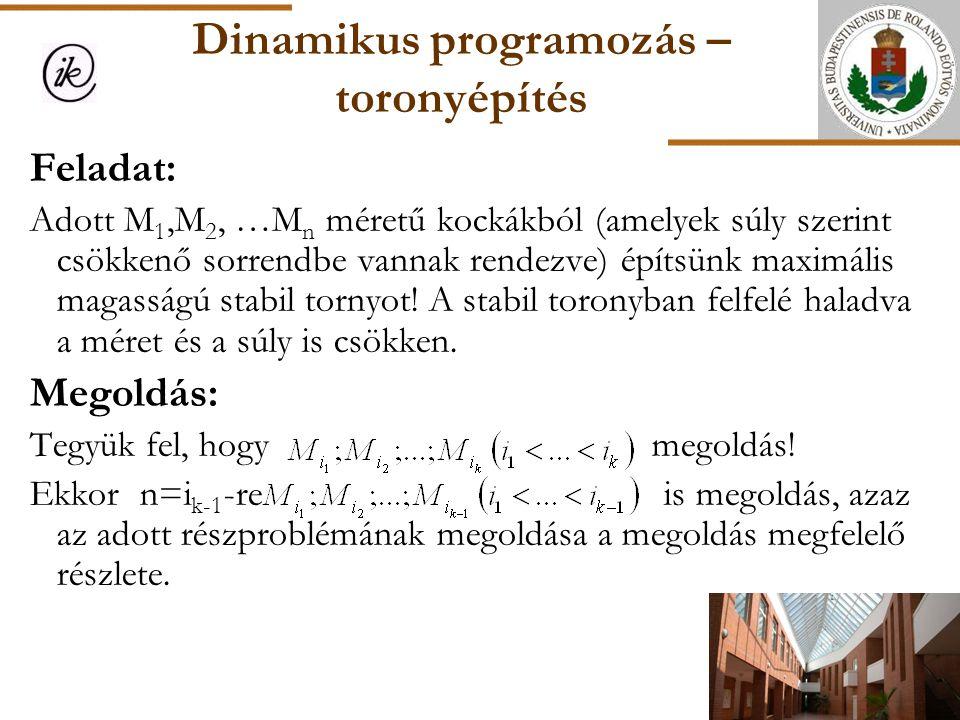 Dinamikus programozás – toronyépítés Feladat: Adott M 1,M 2, …M n méretű kockákból (amelyek súly szerint csökkenő sorrendbe vannak rendezve) építsünk