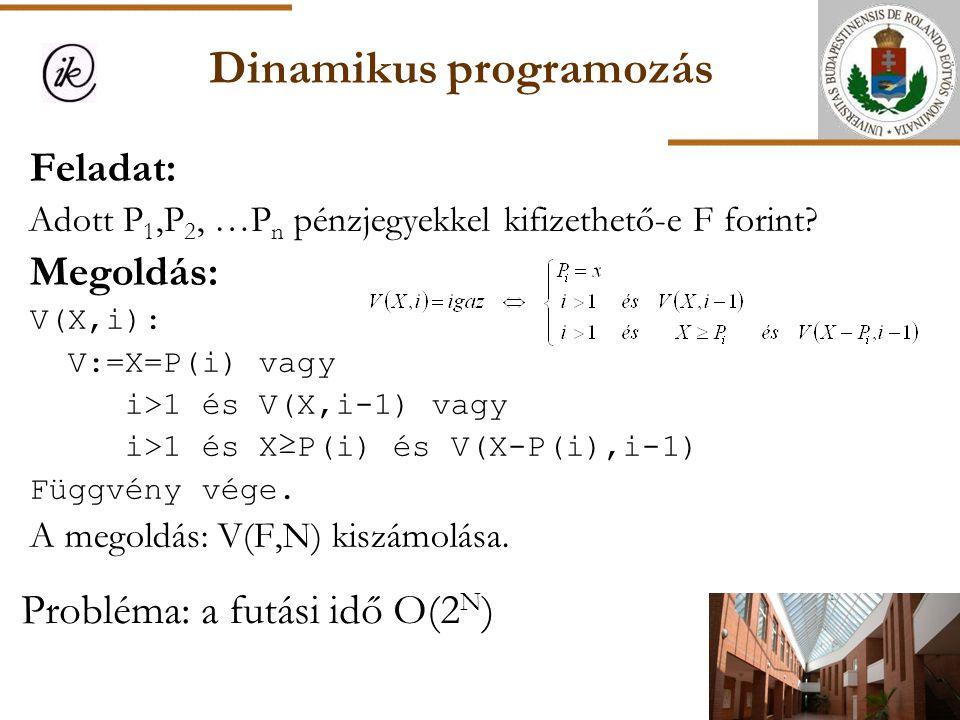 Dinamikus programozás Probléma: a futási idő O(2 N ) Feladat: Adott P 1,P 2, …P n pénzjegyekkel kifizethető-e F forint? Megoldás: V(X,i): V:=X=P(i) va
