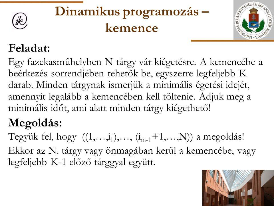 Dinamikus programozás – kemence Feladat: Egy fazekasműhelyben N tárgy vár kiégetésre. A kemencébe a beérkezés sorrendjében tehetők be, egyszerre legfe