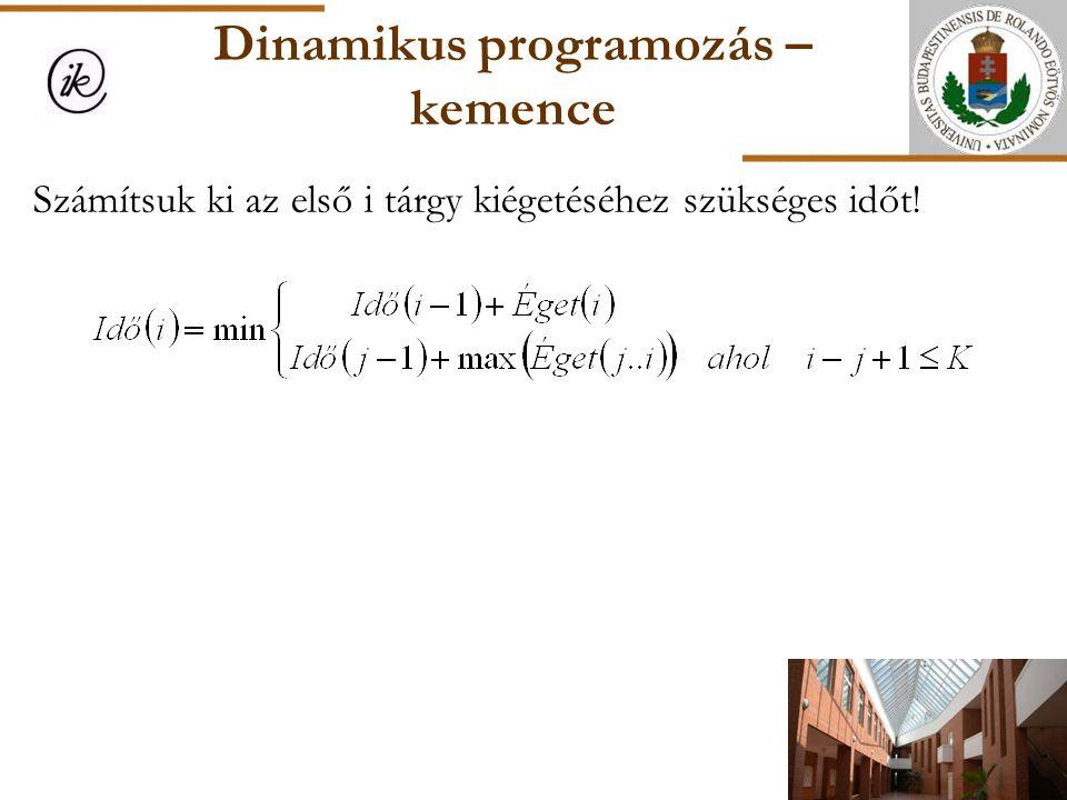 Dinamikus programozás – kemence Számítsuk ki az első i tárgy kiégetéséhez szükséges időt!