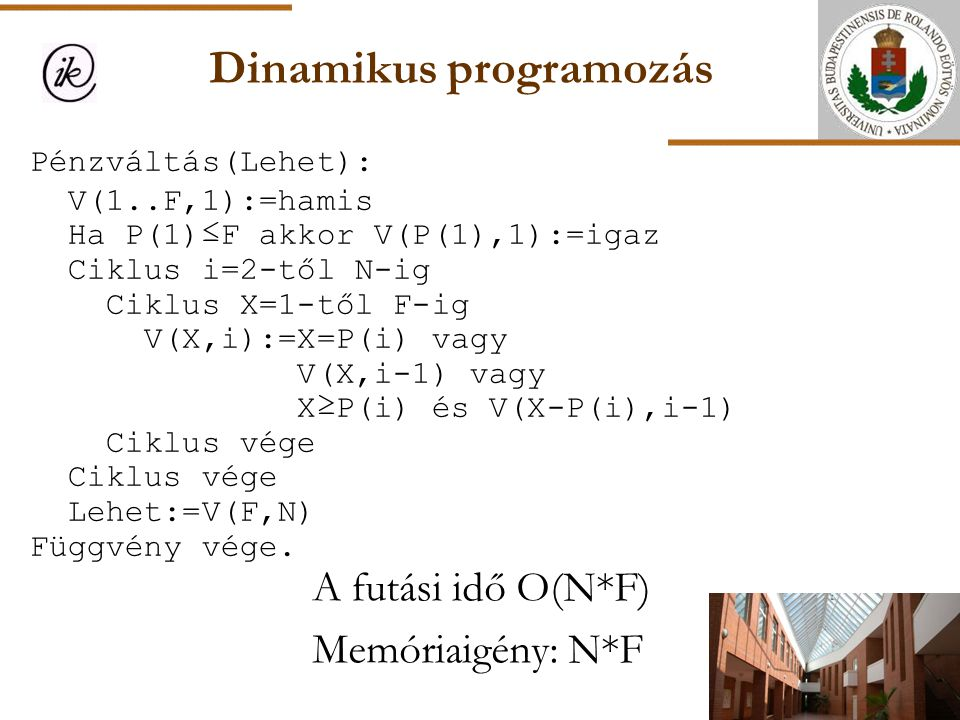 Dinamikus programozás A futási idő O(N*F) Memóriaigény: N*F Pénzváltás(Lehet): V(1..F,1):=hamis Ha P(1)≤F akkor V(P(1),1):=igaz Ciklus i=2-től N-ig Ci