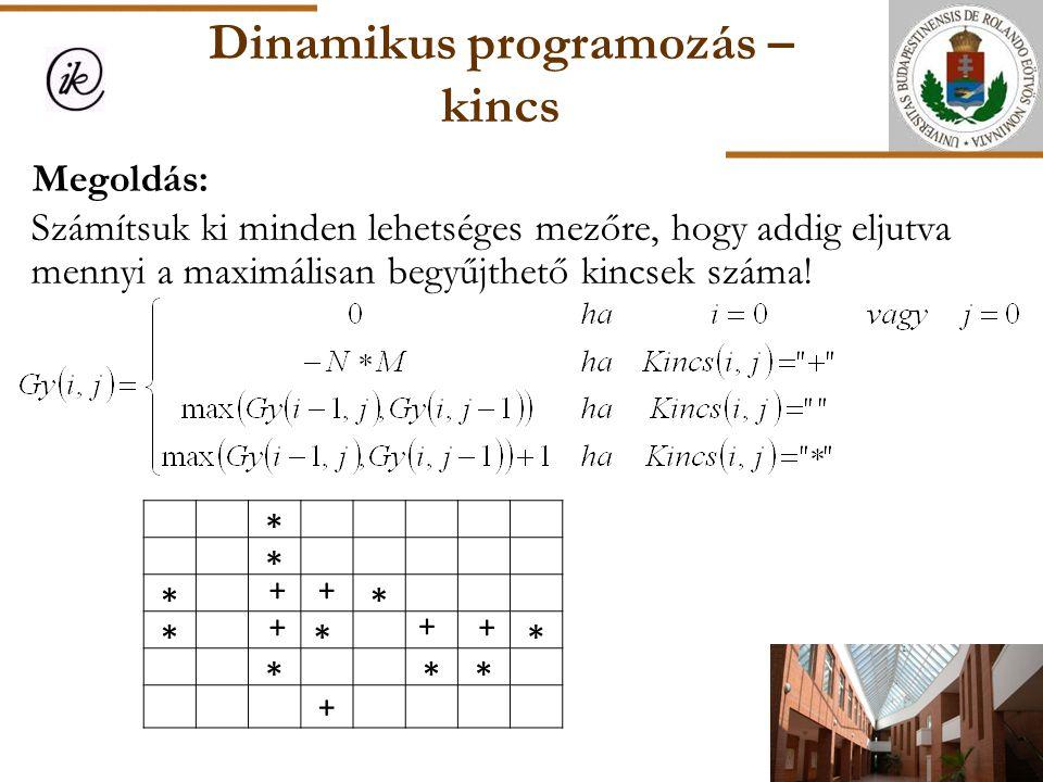 Dinamikus programozás – kincs Megoldás: Számítsuk ki minden lehetséges mezőre, hogy addig eljutva mennyi a maximálisan begyűjthető kincsek száma! * *