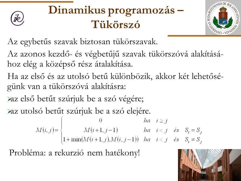 Dinamikus programozás – Tükörszó Probléma: a rekurzió nem hatékony! Az egybetűs szavak biztosan tükörszavak. Az azonos kezdő- és végbetűjű szavak tükö