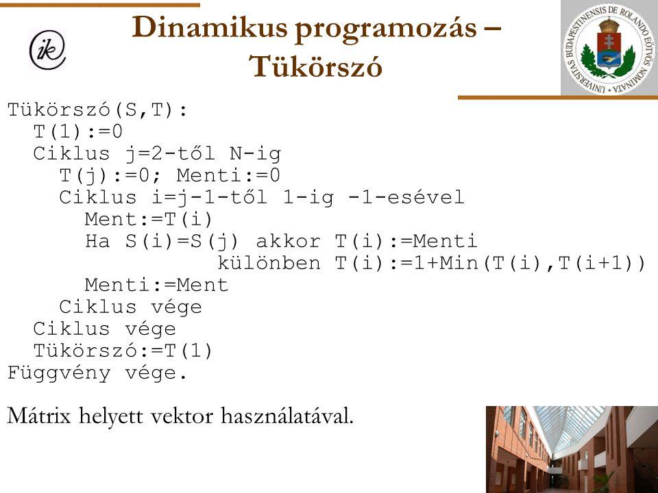 Dinamikus programozás – Tükörszó Tükörszó(S,T): T(1):=0 Ciklus j=2-től N-ig T(j):=0; Menti:=0 Ciklus i=j-1-től 1-ig -1-esével Ment:=T(i) Ha S(i)=S(j)