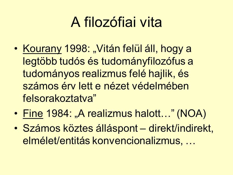 """A filozófiai vita Kourany 1998: """"Vitán felül áll, hogy a legtöbb tudós és tudományfilozófus a tudományos realizmus felé hajlik, és számos érv lett e nézet védelmében felsorakoztatva Fine 1984: """"A realizmus halott… (NOA) Számos köztes álláspont – direkt/indirekt, elmélet/entitás konvencionalizmus, …"""